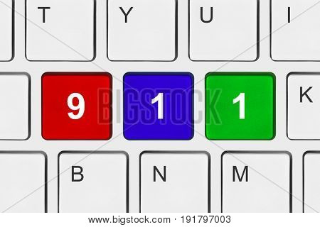 Computer keyboard with 911 key - technology background