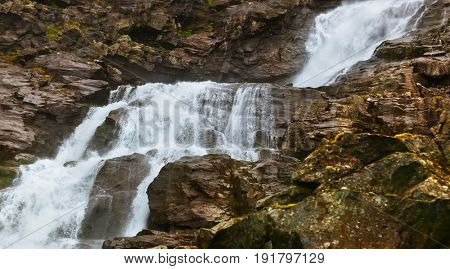 Stigfossen waterfall near Troll's Path - Norway - nature and travel background