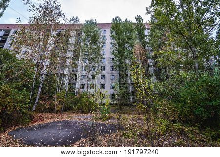 Apartment building in Pripyat ghost town Chernobyl Exclusion Zone Ukraine