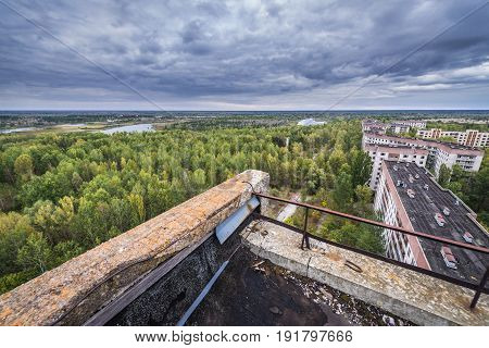 Residential buildings in abandoned Pripyat city in Chernobyl Exclusion Zone Ukraine