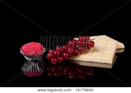Chocolate And Currants - Brigadier Of Red-fruits, On Black With Reflexion