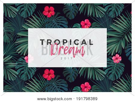 Tropical design with bright hibiscus flowers and exotic palm leaves on dark background.. Vector illustration.