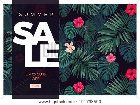 Tropical sale design with bright hibiscus flowers and exotic palm leaves on dark background.. Vector illustration.