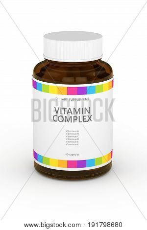 3D Rendering Of Vitamin Pills In Bottle