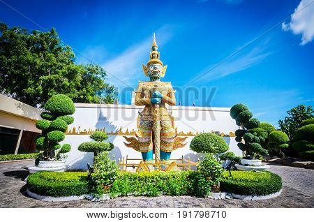 Mini Siam Pattaya Chonburi Province Thailand. - 3 June 2015 : Ramayana Giant Tosakantha.
