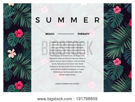 Tropical design with bright hibiscus flowers and exotic palm leaves on dark background. Space for text. Vector illustration.