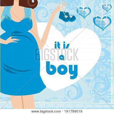 It's A boy! - pregnant woman card , vector illustration