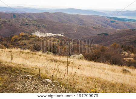 Landscape with hills in autumn, recorded in Balkan hills, also called as Stara Planina in Bulgaria.
