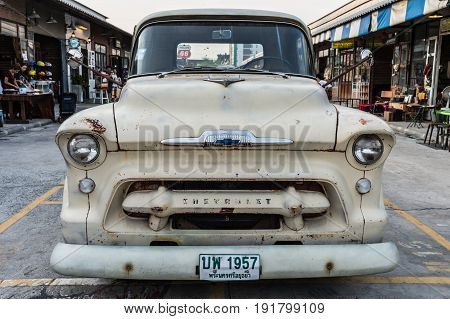 BANGKOK THAILAND - March 26 2017: show old chevrolet truck at Night market Srinakarin road that name is train market. This market is open every Wednesday to sunday.