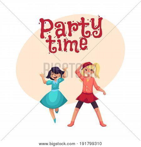 Two girls dancing at party, one in blue dress, another wearing skirt and leggings, cartoon vector illustration with space for text. Happy girls dancing, having fun at a kids party