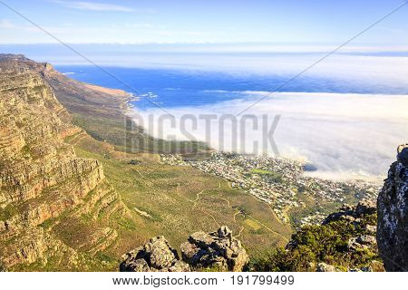 View of Camps Bay in Cape Town, South Africa from Table Mountain