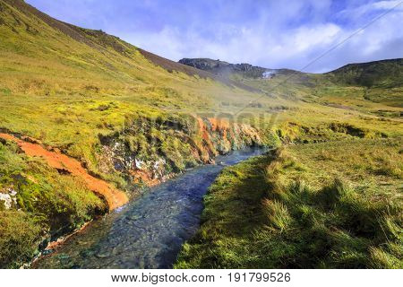 Hot River in Reykjadalur Valley in South Iceland