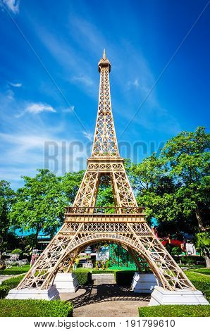 Eiffel tower replica in Mini Siam Park Pattaya Chonburi province at Thailand. June 3 2017. Mini Siam is a famous miniature park attraction. It had been constructed in 1986