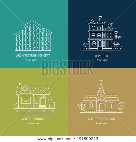 Vector design logo with city buildings. Set of linear icons with buildings, house, hotel and churches in trendy line style.