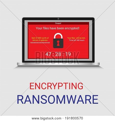 Malware encrypted file in computer, Wanacry or Ransomware