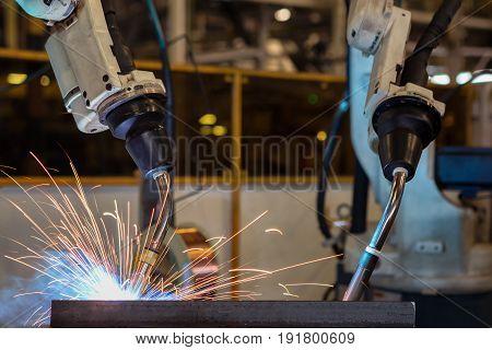 robot welding part in automotive industrial .
