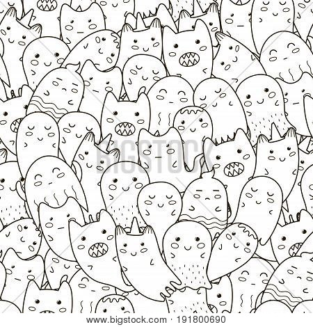 Doodle ghosts seamless pattern. Black and white fantasy background. Great for coloring book, wrapping, printing, fabric and textile. Vector illustration