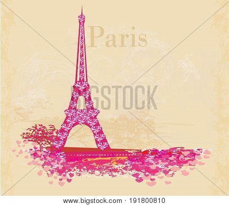 Vintage retro Eiffel tower abstract card , vector illustration