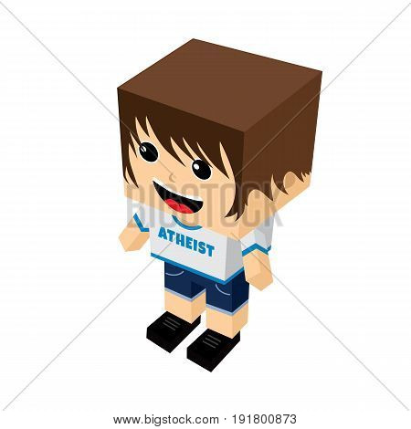 atheist guy cartoon mascot - atheism theme - against religious ignorance campaign vector art
