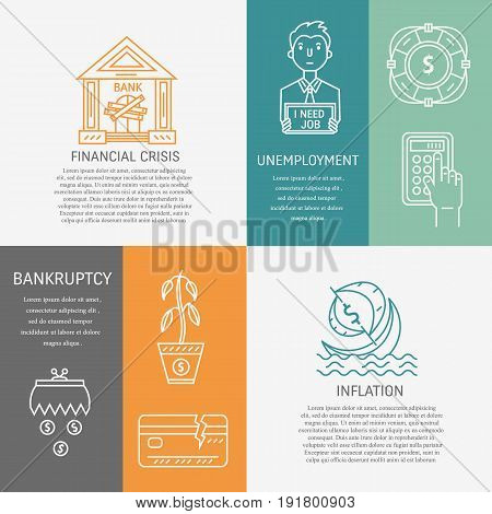 Vector financial bankruptcy, inflation and unemployment banners isolated on color background with place for your text. Economic and financial crisis icons set in linear style.