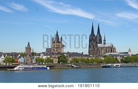 The cathedral in germany with the embankment in summer