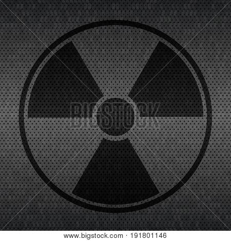 Radiation sign on dark gray background. Vector Illustration