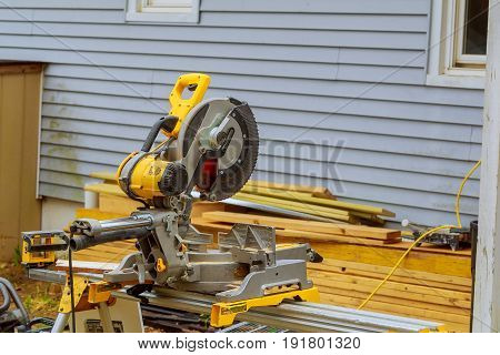 Circular saw cutting wooden plank blade concepts Carpenter cutting wooden