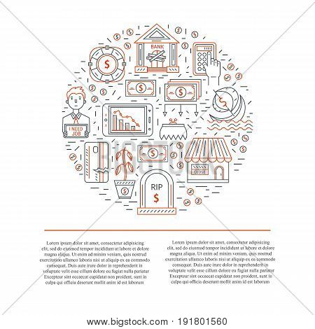 Vector economic and financial crisis icons set  in circle. Financial bankruptcy  and unemployment concepts in linear style isolated on white background. Infographics design elements and plece for text