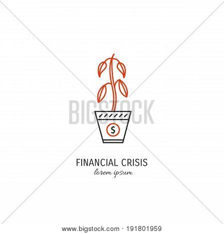 Vector financial crisis symbol isolated on white background. Money plant icon in linear style.