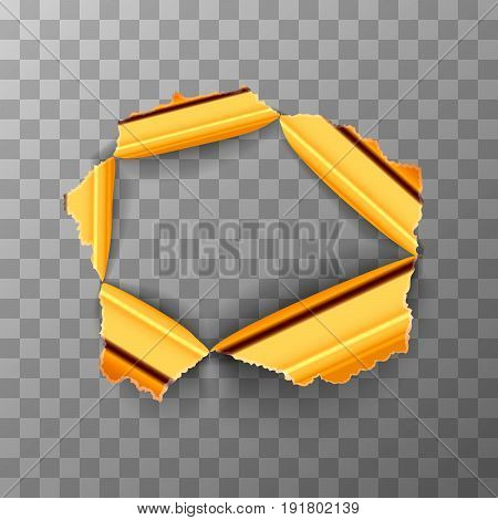 Torn hole in glossy polished gold metal plate on transparent background