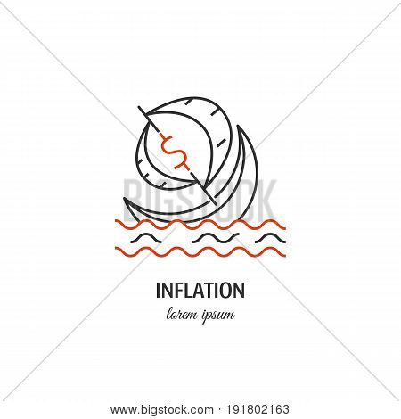 Vector inflation symbol isolated on white background. Ship  icon in linear style.