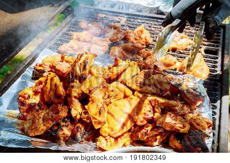 Fresh Grilled Chicken Breasts on the Barbecue BQQ