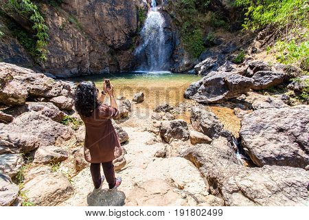 Lady Take Photo Of Jokkradin Waterfall