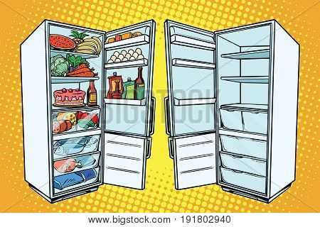 Two refrigerators. One with food and the other empty. Comic cartoon style pop art retro vector color drawing illustration