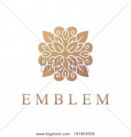 Floral logo. Flower icon. Floral emblem. Cosmetics, Spa, Beauty salon, Decoration, Boutique logo. Luxury, Business, Royal Jewelry, Hotel, Premium Logo. Interior Icon. Resort and Restaurant Logo.