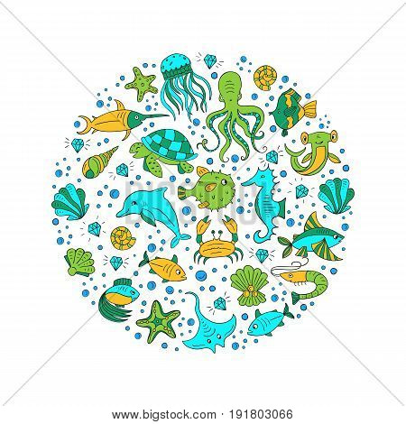 Vector Hand drawn sea animals, octopus, fishes, shells, fish hammer, turtle, dolphin, crab jellyfish. Sea and ocean creation. Nautical and sea symbols isolated on white background. Hand drawn icons