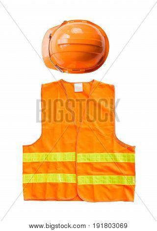 Orange vest with hard hat isolated on white background