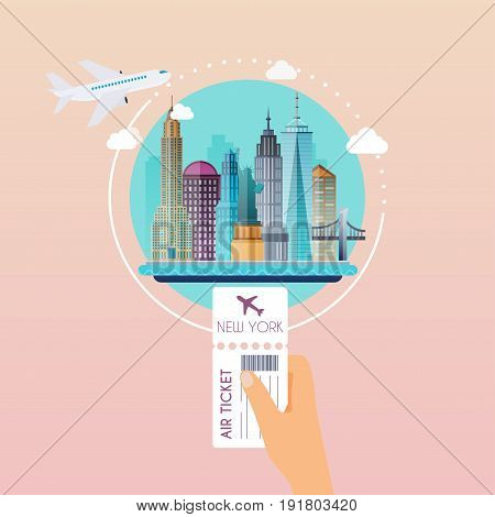 Hand holding boarding pass at airport to New York. Traveling on airplane planning a summer vacation tourism and journey objects and passenger luggage. Flat design modern vector illustration concept.