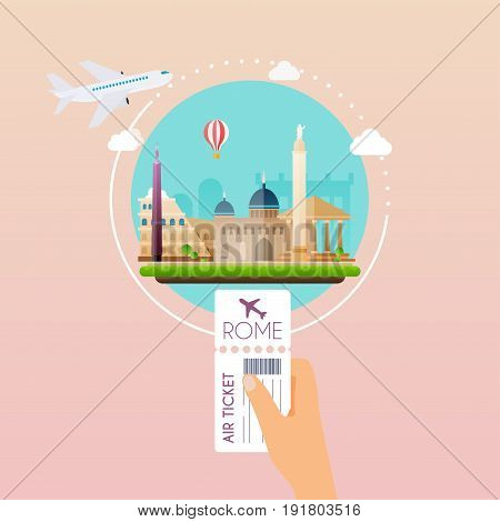 Hand holding boarding pass at airport to Rome. Traveling on airplane planning a summer vacation tourism and journey objects and passenger luggage. Flat design modern vector illustration concept.