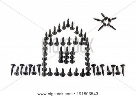 House With Fence And Star Drawing With Black Oxidized Self-tapping Screw Isolated On White Backgroun