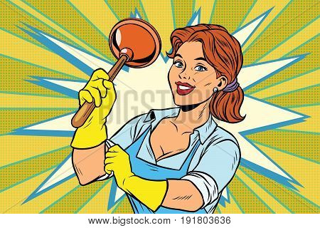 Cleaner with a plunger. Comic cartoon style pop art retro color picture illustration