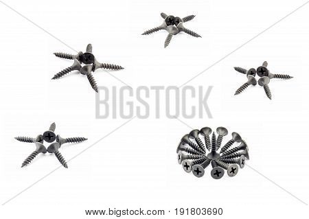 Four Five-pointed Stars And A Circular Composition Are Lined With Black Screws