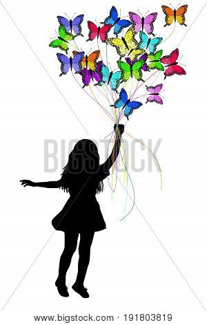 Girl silhouette dragged by colorful butterflies on white background
