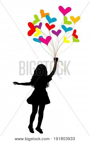 Girl silhouette dragged by colorful heart balloons on white background