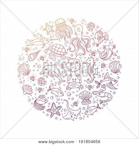 Vector Hand drawn sea animals: octopus, fishes, shells, fish hammer, turtle, dolphin, crab jellyfish . Sea and ocean creation. Nautical and sea symbols isolated on background. Hand drawn icons.