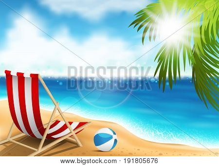 Vector illustration of a lounge chair on the seaside