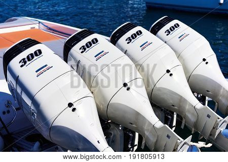 Four Suzuki Df300Ap Engines On Inflatable Rib Boat. Spain