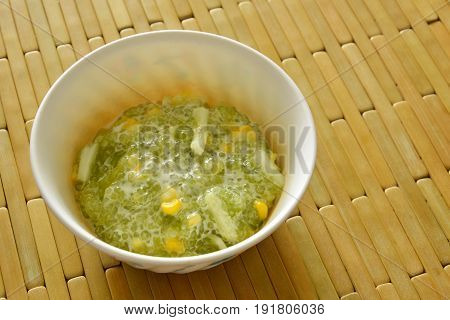 sweet sago with corn in coconut cream on cup