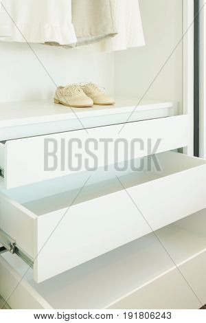 White Empty Wardrobe Withe Shoe And Cloths