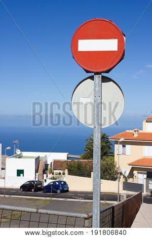 No entry sign. Road traffic barrier means no access. Red circle with white line